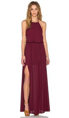Show Me Your Mumu Heather Halter Dress in Merlot Crisp | REVOLVE