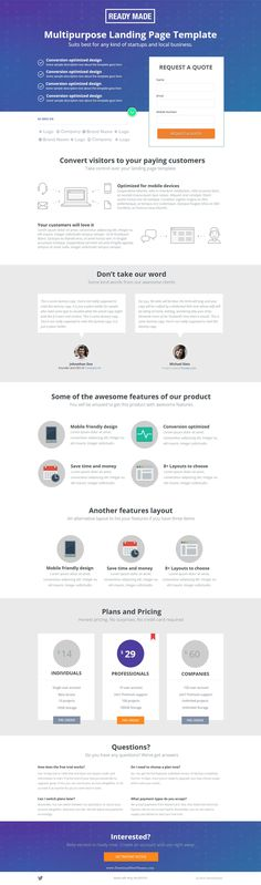 ReadyMade - Instapage Landing Page Template > Best Conversion optimized Landing page Template. 8 Responsive layouts including Email contact form, lead generation, click-through, Ajax Mailchimp Subscription, Click to call, Video, Web App, Mobile App etc. Create high conversion #landingpages in minutes! #marketing