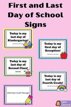 "Create beautiful Back to School keepsakes with these first day of school signs. Print and use for your first day of school photos. This product also includes last day of school signs, which would be perfect for showing just how much your students have grown since the first day of the year.  Product includes Preschool, Nursery, Reception, Kindergarten, Year 1, First Grade, Year 2, Second Grade, Year 3, Third Grade, Year 4, Fourth Grade, Year 5, Fifth Grade, Year 6 Sixth Grade, Year 7)"" First Week Of School Ideas, Last Day Of School, Back To School, Fifth Grade, Second Grade, Date Today, My Last Day, Year 7, School Signs"
