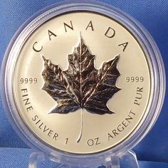 The iconic Silver Maple Leaf is a highly sought-after Royal Canadian Mint bullion coin. This reverse proof silver numismatic coin celebrates the Silver Maple Leaf's beauty and success since its introduction in Bullion Coins, Silver Bullion, Numismatic Coins, Silver Maple Leaf, Canadian Coins, Foreign Coins, Money Stacks, Gold And Silver Coins, Gold Chains For Men