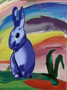 Franz Marc – The Blue Rabbit - Painting Style Franz Marc, Easter Paintings, Animal Paintings, Art Du Temps, Cavalier Bleu, Easter Bunny Pictures, Expressionist Artists, Rabbit Art, Blue Rider
