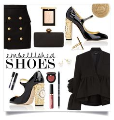 """""""Sometimes you Have to Embellish; Embellished Shoes"""" by maggiesinthemoon ❤ liked on Polyvore featuring Dolce&Gabbana, Rachel Comey, Alexander McQueen, Balmain, Ileana Makri, tarte, Bobbi Brown Cosmetics, Christian Dior, Majorica and Yves Saint Laurent"""