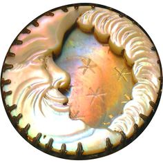 Button--Late 19th C. Celestial Man in the Moon Compound Carved Engraved Iridescent Pearl in Brass
