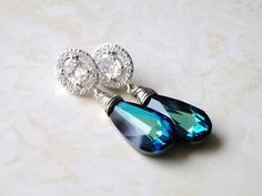 Sapphire Jewelry Bridal Earrings Swarovski Peacock by SomsStudio, $42.00