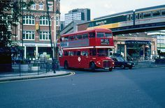 Shepherds Bush Green with the InterCity 125 overpass facade known as the Sky Train - 1986 Shepherd's Bush London, London Bus, London Life, Vintage London, Old London, West London, Shepherds Bush, Routemaster, London Transport