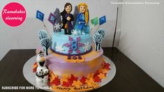 frozen 2 theme birthday cake design ideas decorating tutorial video for kids at home whipped cream easy cakes for kids cake designs for girls birthday cake w. Easy Kids Birthday Cakes, Simple Birthday Cake Designs, Easy Cakes For Kids, Cake Designs For Kids, Friends Birthday Cake, 8th Birthday Cake, Animal Birthday Cakes, Simple Cake Designs, Frozen Birthday Cake