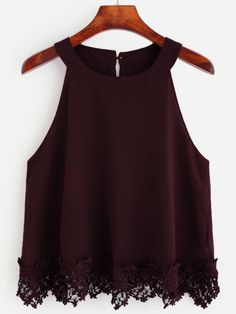 Online shopping for Burgundy Crochet Trim Chiffon Halter Neck Top from a great selection of women's fashion clothing & more at MakeMeChic. Teen Fashion Outfits, Trendy Outfits, Fashion Dresses, Cute Outfits, Women's Fashion, Crochet Dress Outfits, Chiffon Cami Tops, Chiffon Shirt, Jugend Mode Outfits