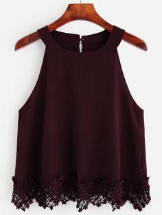 Burgundy Crochet Trim Chiffon Halter Neck Top