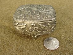 Vintage Silver Plate Trinket Box Ring Box Red by marketsquareus