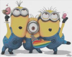 Despicable Me Minions Cross Stitch Kit by CSDesignsbyLeah on Etsy, $40.00