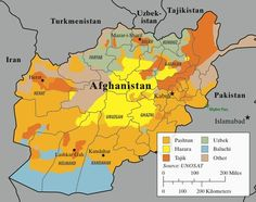 Map of Afghanistan's major ethnolinguistic groups; striations indicate mixed areas.