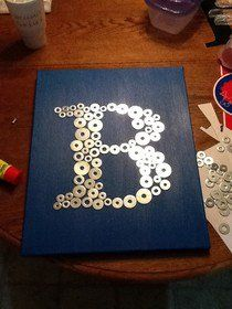 So cute for a little boys room; Initial made out of washers.