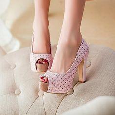 Zapatos de mujer - Tacón Robusto - Tacones / Punta Abierta / Plataforma - Tacones - Vestido - Semicuero - Negro / Azul / Rosa / Beige 2016 – $841.31