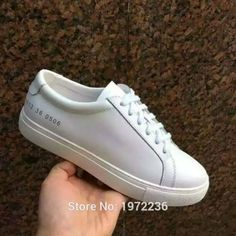 86.00$  Watch here - http://alie6v.worldwells.pw/go.php?t=32622088983 - 2016 New Italy Brand Original Common Projects Shoes Women Genuine Leather  Flats Sheepskin Low White Casual Platforms Shoes