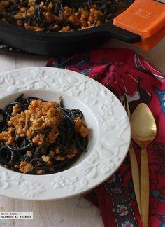 Receta de espaguetis negros a la cervese. receta de pasta. Con fotos de presentación y del paso a paso y consejos de elaboración, presentación y...