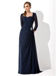 A-Line/Princess Sweetheart Sweep Train Chiffon Mother of the Bride Dress With Ruffle Beading (008005650) - JJsHouse