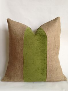 Green Crushed Velvet & Burlap Pillow Cover by BouteilleChic, $18.00