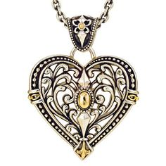 Filigree Heart Pendant in Sterling Silver and Yellow Gold - Sam's Club Bali Jewelry, Fine Jewelry, Jewellery, Sterling Silver Necklaces, Silver Jewelry, Filigree, Jewelry Watches, Pendants, Brooch