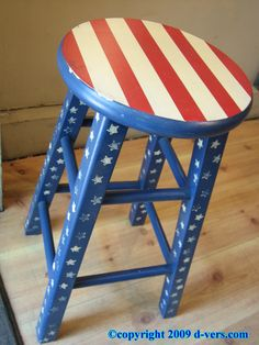 Hand painted red white   blue stool  I could totally do this  Looks likepatriotic red  white and blue chair   my furniture   Pinterest  . Red White And Blue Painted Furniture. Home Design Ideas