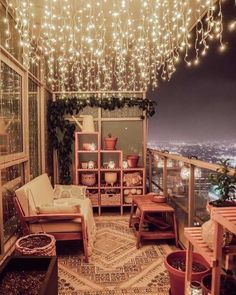 Small balcony decor ideas small apartment balcony design ideas string lights, outdoor decor, porch d Small Balcony Decor, Outdoor Balcony, Outdoor Decor, Balcony Decoration, Patio Balcony Ideas, Small Balcony Garden, Small Balcony Design, Interior Home Decoration, Plants On Balcony