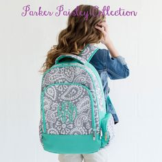A stylish personalized backpack in a trendy mint color and gray paisley pattern! Add your name or monogram to personalize this backpack! #backtoschool #backpack #monogram #monogrambackpack #paisley #bag #CarolinaClover