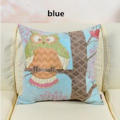 American country style owl suede throw pillow for sofa cartoon square cushions