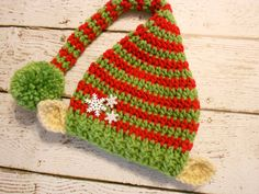 Crochet Christmas Elf Hat With Ears Green and by SweetpeasAlley