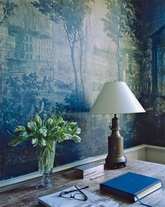 The blue wallpaper in the mudroom. The paper, bought at auction,  is a crumbling antique from the early part of the 19th century | interior design by Michael S. Smith
