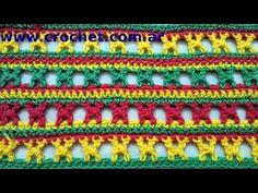 Punto fantasía N° 6 en tejido crochet tutorial paso a paso. - YouTube