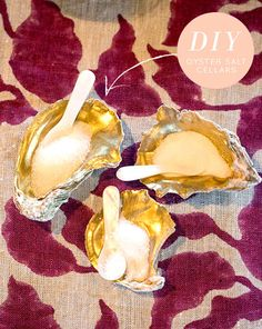 gold painted oyster salt cellars