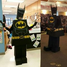 My lego batman costume I made for Halloween 2015. Created from cardboard, masking tape, and spray paint.
