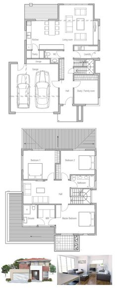 Very Popular Small House Plan with three bedrooms and two living areas. Floor Plan.