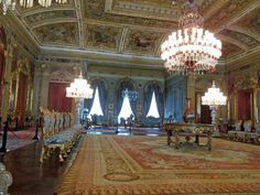 Dolmabahce Palace, Istanbul-- Chandeliers-- Huge State Room