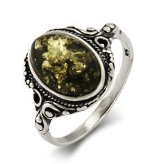 Sterling Silver Jewelry - Green Baltic Amber Sterling Silver Ring in Victorian Setting