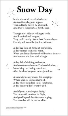 Cute children's poem about snow games during a snow day off from school.  Great for winter and holiday reading. common core first 1st grade, second 2nd grade, third 3rd grade reading #ESL