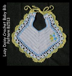 Crochet Baby Bib Pattern Lazy Daisy Embroidery PDF by MsBobbies Crochet Baby Bibs, Crochet Daisy, Crochet Baby Booties, Crochet Yarn, Crochet Flowers, Crochet Hooks, Baby Knitting, Baby Bibs Patterns, Crochet Patterns