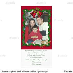 Christmas photo card Ribbons and bells