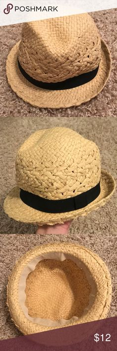 Straw Fedora. Black ribbon detail around brim Straw Fedora, like new. Black ribbon detail around brim. Accessories Hats
