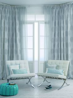 blue living room curtains model of ideas curtains room living contemporary Curtains Blinds And Curtains Living Room, Window Treatments Living Room, Living Room Windows, Kitchen Curtains, White Leather Sofa Bed, Blue And White Curtains, Neutral Curtains, Rideaux Design, Contemporary Curtains