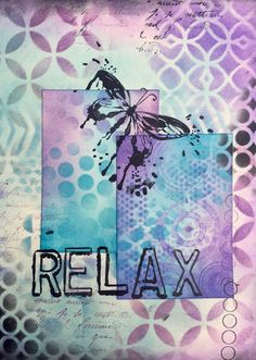 Relax art journal page (right) combining ink and paint (Marjie Kemper