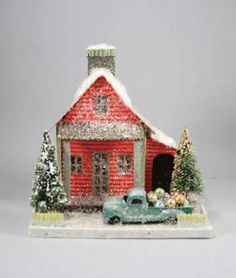 Mica putz house with old fashion truck full of ornaments. Shop fun vintage style Christmas decorations now!