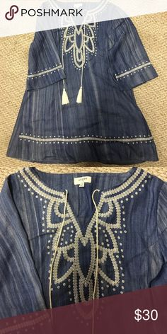 Umgee denim dress Embroidery with tassels down the front and on the sleeves umgee Dresses