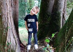 """""""Pardon My Swag"""" T-Shirt is hand screen printed in White on a Black T-shirt. This super soft tee is a staple in every kids wardrobe. Graphic size a. Kids Wardrobe, Sage, Screen Printing, Graphic Tees, King, Unisex, Children, Prints, T Shirt"""