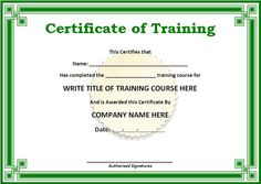 Green Certificate Template Of Training