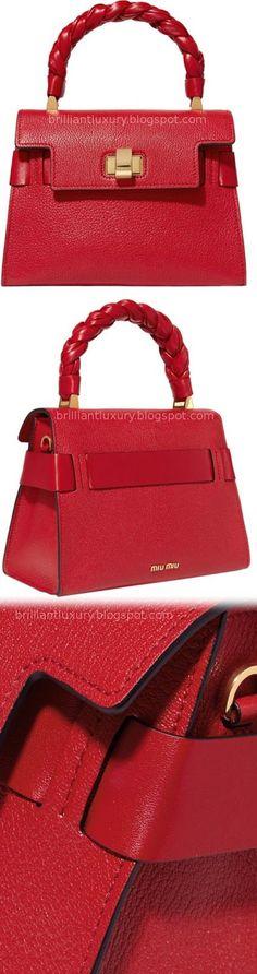 Brilliant Luxury ♦ Miu Miu Click Textured-Leather Tote #red