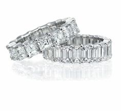 Asscher and Emerald Cut Diamond Eternity Bands by Ritani