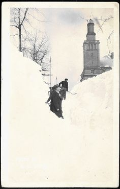 Sault Ste Marie MI UP Downtown near Soo Locks Winter Snow 1923 RPPC Photo by AE YOUNG REXO Card Postmarked 1923  via UpNorth Memories by Donald (Don) Harrison  UP of MI was, is and will be known for its abundant snowfall!