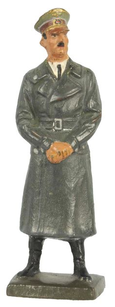 June 22nd Auction. Lineol 7cm Hitler Standing in Overcoat. #ToySoldiers #MorphyAuctions