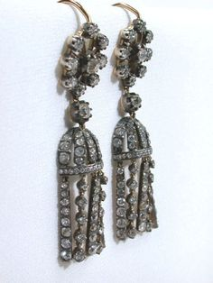 diamond tassel earrings, circa 1880