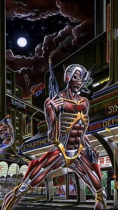 Cyborg Eddie iron maiden their 4 best album caught somewhere in time Iron Maiden Seventh Son, Iron Maiden Live, Eddie Iron Maiden, Iron Maiden Album Covers, Iron Maiden Albums, Arte Heavy Metal, Heavy Metal Bands, Heavy Metal Tattoo, Music Artwork